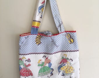 Feedsack 1940s tote bag retro square dance, country western fabric, women's tote bag, repurposed feedsack, gift for her, vintage feedsack