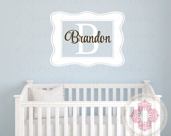 Rectangle Nursery Monogra Initial and Name Wall Decal - Small to Large Size Monogram Vinyl Wall Decal for Girl or Boy FN0512