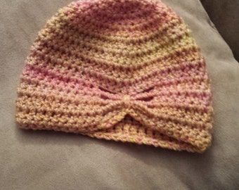 Ready to ship! pink, coral, yellow crochet butterfly hat, 6 to 9 months