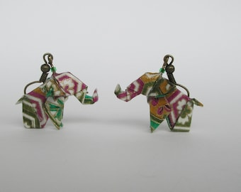 Origami elephant from Asia or Africa, jewel purple Green Gold Japanese paper earrings