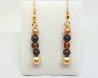 Brown Beaded dangle earrings glass pearls and crystals gold jewellery