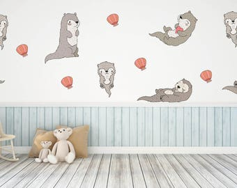 Otter Wall Decals, Kids Room Wall Decals, Animal Wall Decals, Bedroom Wall Decals, Living Room Wall Decals, Otter Decor, Otter Theme