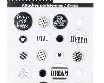 Ties Parisian BRADS heart LOVE black white EPOXY Love Love - 20 pcs