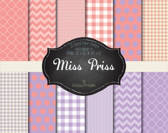 Miss Priss - Pink & Purple digital papers - 12x12 and 8.5x11 300 dpi
