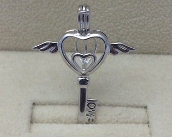 925 Sterling Silver Angel Winged Key to Your Heart Pearl Cage Pendant