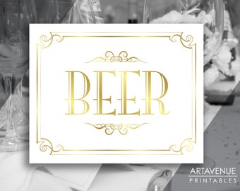 "Vintage Wedding Printable Sign Art ""BEER"" Sign Vintage Party - White and Gold Wedding digital file - VG1"