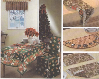 FREE US SHIP Simplicity 5288 Sewing Pattern Reversible Entertaining for Holidays Chair Slip Cover Rug Table Runner Window Treatments Uncut