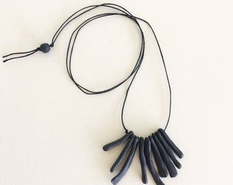 BONES: hand built porcelain ceramic necklace, matte black