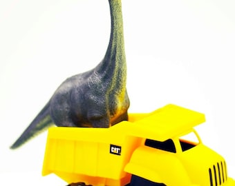 Brontosaurus Truckin'- Fine Art Photography print 5x7 by Alana Gillett- Dinosaur Dump Truck Wheels Boys Girls Kids Room Wall Art Home Decor