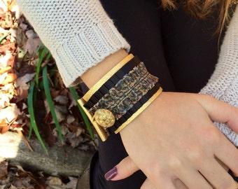 Leather cuff bracelet | womens cuff bracelet | cuff bracelet | wristband | animal print | leopard | gold | metallic gold leather