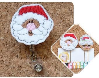 Santa Badge Reel, Planner Clips, Black African American Santa Felt Badge Reel, Retractable Name Holder, Magnet, Bookmark, Pin,  379 599