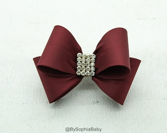 Burgundy Bow, Bow Hair Clip, Toddler Burgundy Hair Clip, Girls Bow Hair Clip, Big Bow Hair Clip, Burgundy hair Bow, 1004