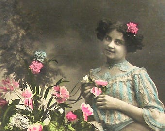 Antique French postcard, Lady with flowers, RPPC real photo postcard, paper ephemera.