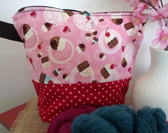 Knitting Project Bag CUPCAKES Wristlet Project Knitting Bag Project Bag Crafts organizer bag Sock Project Knit bag yarn Tote #10