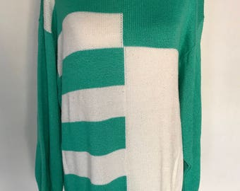 90's Mint Colorblocked  Sweater