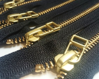YKK metal zippers with gold brass teeth and DHR Wire style pull- (5) pieces - Black Color 580- Available in 6,9,11 and 16 inches