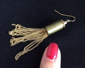 Gold Chain Tassel Bullet Shell Earrings