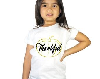 Thankful Gold Pumpkin Girl's Shirt
