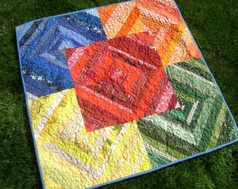 Baby String Quilt in Primary Colors  Handmade Nursery Wall hanging Playmat in Red Blue Green Yellow Orange