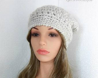 Crochet Beanie Silver Gray Cap Womens Biker Style Slouchy Hat Winter Beanie Fall Beanie Trendy Hat Gift