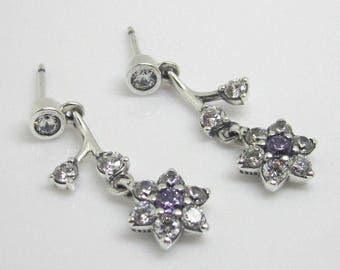 FORGET ME NOT Earrings with Clear & Purple Cz / New / S925 Sterling Silver / Fully Stamped