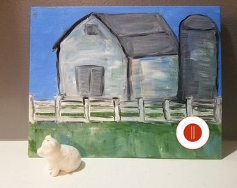 Abstract old farm with silo in the country