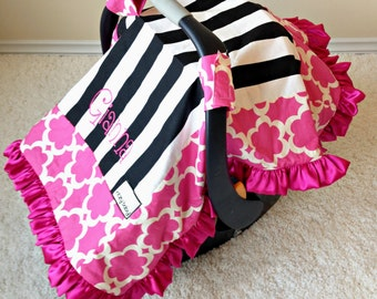 Black and White Stripe, Taza Pink, and Your Choice of Reverse Minky Attachable Car Seat Blanket, Car Seat Canopy, Canopy Blanket
