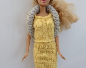 3 pieces set for Barbie doll hand knitted wool