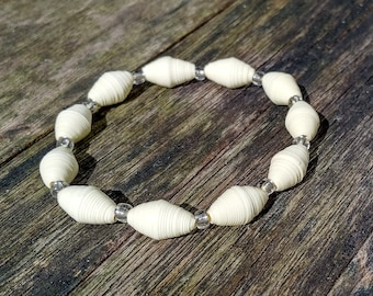 Handmade bracelet with cream recycled paper and silver glass beads