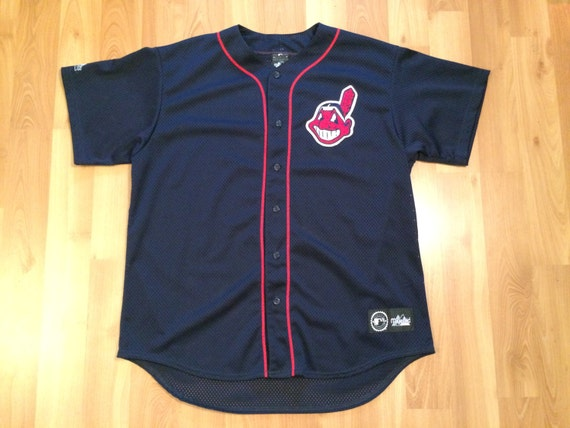XL 90's MLB Cleveland Indians vintage baseball jersey Majestic custom Champs 1 navy blue red Made in the U.S.A. 1990's 5U4jO5tC
