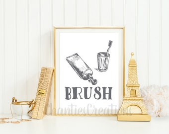 Brush Bathroom Printable. Bathroom Wall Art. Bathroom Vintage Prints.