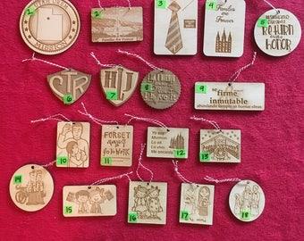 Wood LDS missionary ornaments