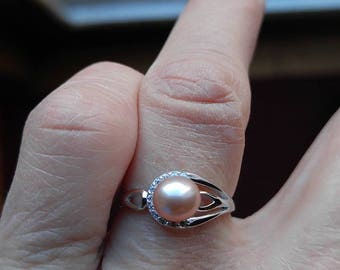 925 sterling silver size 7 luck be a lady pearl ring with crystals