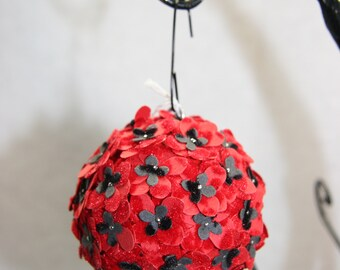 Red and Black Paper Flower Ornament