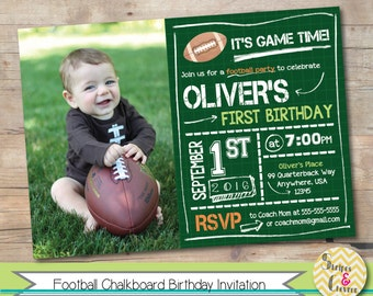 Football First Birthday Invitation, Printable Football Birthday Invite, Boy Football Birthday Photo Invitation, Football Theme, Sports Party