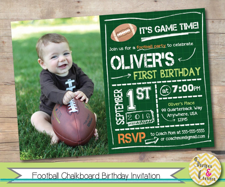 Football First Birthday Invitation Printable Football