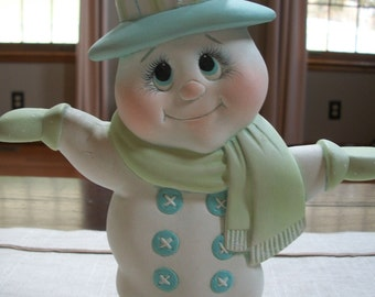Ceramic snowman hand holding two sided Christmas decoration