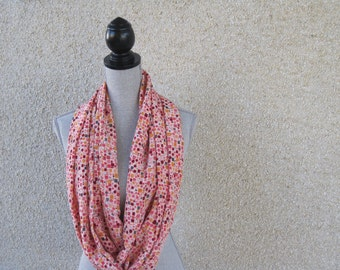 Fabric scarf, Infinity scarf, tube scarf, eternity scarf, loop scarf, long scarf, silk scarf, coral, peach, spring scarf