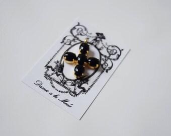 Onyx Jane Austen Cross, Jane Austen Cross Pendant, Black Onyx Cross, Regency Mourning Jewelry, Mourning Cross Pendant, Black Cross Pendant