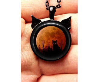 Wiccan Pendant Necklace Black Cat Moon Witchcraft