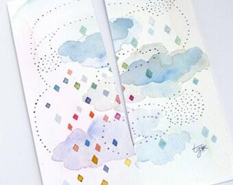 Pastel blue cloud original watercolor bookmark, Rain drop art, Handpainted bookmarks, Rain drop and cloud, Unique bookmarks, Cute stationery