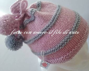 Baby hat in pure wool 100% pink and grey