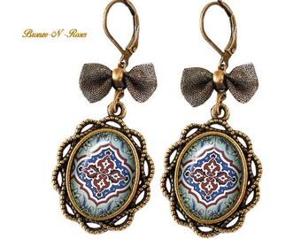 Small earrings retro bronze jewelry fantasy vintage glass cabochon