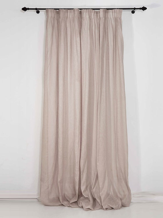 Sheer Linen Curtains Pencil Pleat Window Curtain Panels
