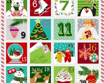 "Advent Calendar Fabric Panel; A Christmas Wish by Sarah Frederking for Studio E; 3722P-88; Christmas Fabric; 35"" Panel"