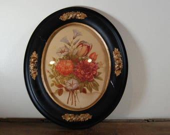 Shabby Chic Vintage Black and Gold Oval Framed Floral Print