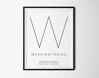 Washington DC, Washington Coordinates, Washington print, Washington art, City Prints, Travel art, Washington poster, Washington printable