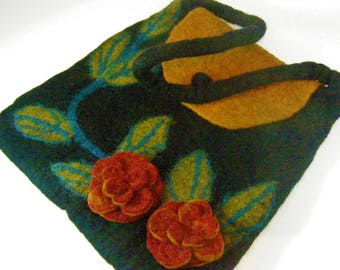 Warm Fall/Winter Multicolor Handcrafted Felted Wool Bag Purse. Zippered Compartment. Black, Rust, Orange, Green. Made in Nepal.