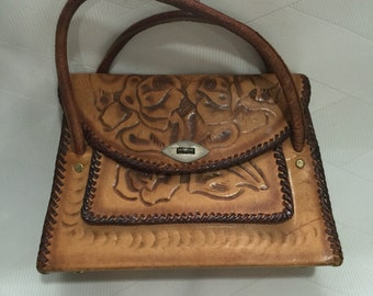 Vintage 1960s Mexican Hand Tooled Leather Top Handle Hand Bag