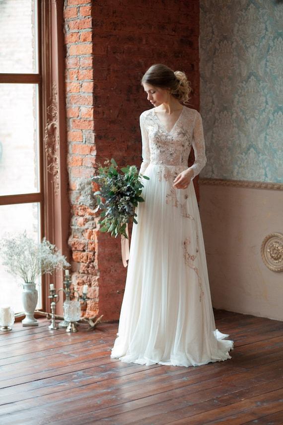 Lace Wedding Dress GLORIA Long Sleeves Wedding Dress - Light Wedding Dress